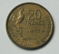 1951 FRANCE G. Guiraud Coin - 20 Francs - toned - rooster bird - chicken animal