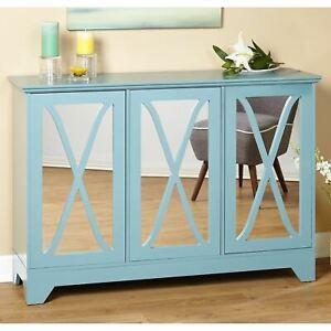Blue Wooden Buffet Server Sideboard Mirror Storage Cabinet China Hutch Cupboard