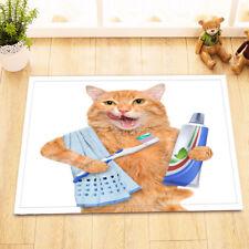 Cute Brushing Teeth Cat Design Kitchen Bathroom Bath Door Floor Mat Bathmat Rug
