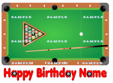 POOL BILLIARD TABLE: Personalized edible cake toppers FREE SHIPPING in Canada