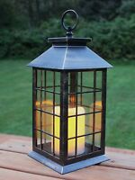 13'' Country Style Rustic Lantern with Flickering Flameless LED Candle and 4