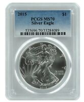 2015 1oz American Silver Eagle PCGS MS70 - Blue Label