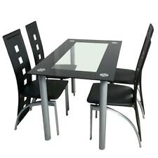 New 5 Piece Dining Set Glass Top Table and 4 Chair for Kitchen Room Furniture