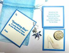 Something Blue Bridal Good Luck Charm Dragonfly Heart Silver Sixpence Gift Tag