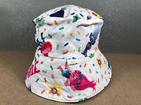 Kids Sz Small 50cm Hand Made In Tasmania Pale Blue Troll Print Bucket Sun Hat