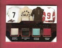 MICKEY MANTLE MUHAMMAD ALI ARNOLD PALMER GORDIE HOWE GAME USED JERSEY CARD #d3/7