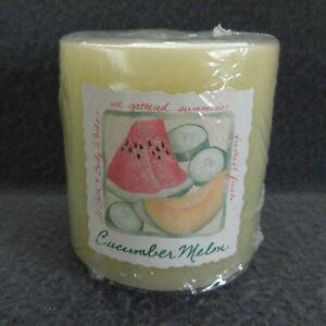 "NEW Bath & Body Works VTG Cucumber Melon Pillar Candle 3"" Single Wick White Barn"