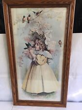 ANTIQUE THE LITTLE CAPTIVE MAUD HUMPHREY BOGART CHROMOLITHOGRAPH PRINT FRAMED