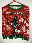 Captain Morgan Holiday Ugly Christmas Sweater Mesn Sz L Party Like A Captain
