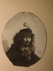Antique Rembrandt Self Portrait Etching