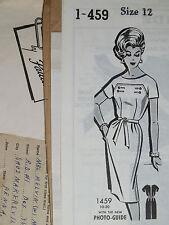 Lovely VTG 60s Parade 1-459 Misses Seam/Button Interest Dress PATTERN 12/32B