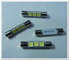 4Pcs 31MM 5050 3SMD LED T6 6641 Fuse Car SUN Visor Vanity Mirror Light Bulb 12V