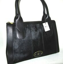 Fossil Black Calf Hair Re-Issue Large Top Zip Satchel Bag New With Tags $248