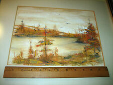 COUNTRY AUTUMN SCENE LANDSCAPE LAKE & WOODS NICELY FRAMED & MATTED OIL ON BOARD