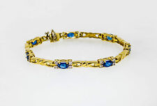 Estate $4500 5.50ct Natural Blue Sapphire Diamond 14k Gold Tennis Bracelet