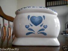 "Blue Hearts Napkin Holder(s) 3 3/4"" H My Love Jay Import Genuine Stoneware White"