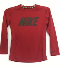 Youth Large NIKE Spell Out Boys Dri-Fit Red Shirt Lightweight Long Sleeve  L