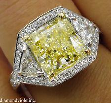 GIA 5.84CT ESTATE VINTAGE FANCY YELLOW CUSHION DIAMOND ENGAGEMENT WEDDING RING