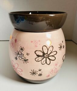 """Scentsy Pink Floral & Brown Doodle Bud Electric Wax Warmer 6""""x5"""""""