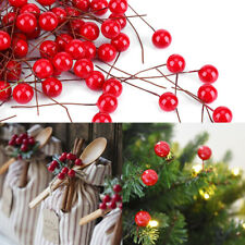 50X 10mm Mini Artificial Red Holly Berry Christmas Tree Home Hanging Decoration