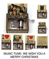 Kpop BTS ARMY HAND CRANK MUSIC BOX FOR ALL TUNE-WE WISH YOU A MERRY CHRISTMAS