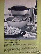 PUBLICITÉ 1962 SAINT-TROND LE RONDEAU EN FONTE ÉMAILLÉE VIF COLORI - ADVERTISING