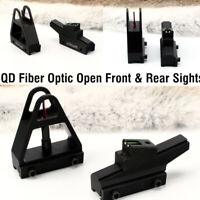 Ohhunt Tactical QD Fiber Optic Open Front and Rear Sights Fit 11mm Dovetail Rail