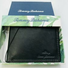 Tommy Bahama Jamaica Bifold Leather Wallet In Black Leather  MSRP $58  Free Ship
