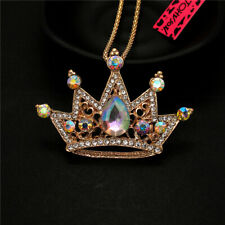 Betsey Johnson AB Crystal Shiny Crown Rhinestone Pendant Sweater Chain Necklace