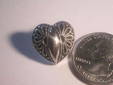 Vintage Look LARGE Silver Heart Shaped Plastic Buttons Shank Type