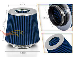 """2.5"""" Inlet Short Ram Cold Air Intake Filter Round/Cone Universal BLUE For Eagle"""