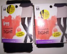 2 New Pairs of Leggs Convert-A-Tights That Convert  Size M  Black