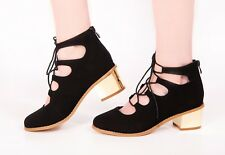 Ladies Sandals Black Strap Galdiator Lace Heel Zip Back Faux Suede New Shoes
