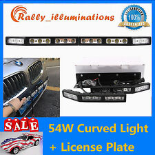 Pair White 54w LED Work Light Lamp Spot Flood Curved +1pcs License Plate Bracket