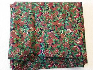 Cranston Joan Messmore Cotton Christmas Fabric Red Green Holly Paisley Pattern