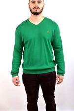 Ralph Lauren V neck Pima Cotton Sweater Jumper Green Vintage 90s Red Pony NICE
