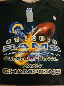 NFL Vintage St. Louis Rams Super Bowl 34 Champions T Shirt XL Millennium 2000