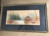 """Antique """"River And Landscape Scene"""" Watercolor Painting - Framed"""