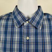 Banana Republic Non Iron Slim Fit Blue Check Plaid Dress Button Shirt Sz L 34/35