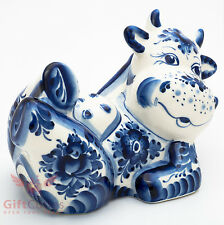 Happy cow relaxing  cartoon Russian Collectible Gzhel Porcelain Figurine
