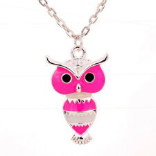 Peach Red Sweater Owl Pendant Lady Chain Necklace Crystal Girl Beautiful Jewelry