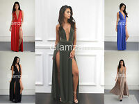 New womens ladies backless maxi long plunge multi way infinity slit party dress