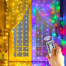 3x3M 300LED Window Curtain String Light Outdoor Wedding Party Fairy Light Remote