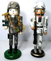 Nutcrackers Set of 2 -  Army Woman Limited Edition 2010 -  Army Man Unmarked