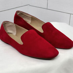 Enzo Angiolini Flats Red Suede 6.5 Leather Smoking Loafers Leonie Slip On