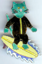 *ZARAH ADORABLE STERLING SILVER ENAMEL SURFING ON SURBOARD CAT PIN BROOCH*