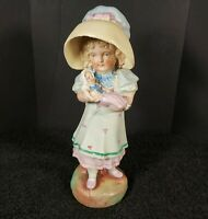 Vintage Chalkware Plaster Figurine Girl with Baby Doll 7.25""