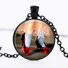 Ruby Slippers necklace Black Glass Cabochon Necklace chain Pendant Wholesale