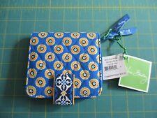 Bnwt Vera Bradley Mini Zip Wallet Riviera Blue Yellow Floral Mandala Flower