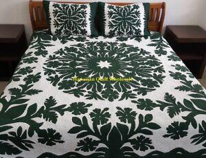 Hawaiian Quilt BEDSPREAD 100% hand quilted/hand appliqué shams Hibiscus/BOP